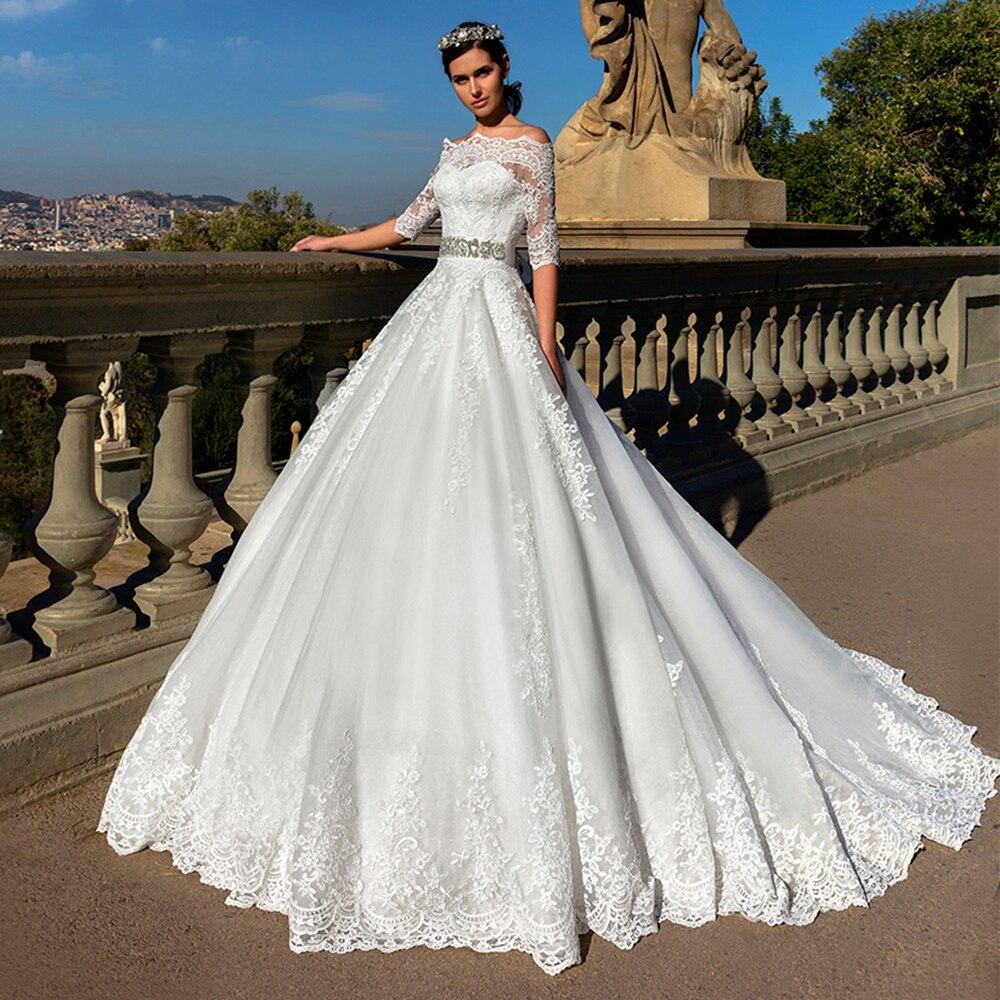 Robe De Mariage Fashion Beaded Belt Dubai Bride Wedding