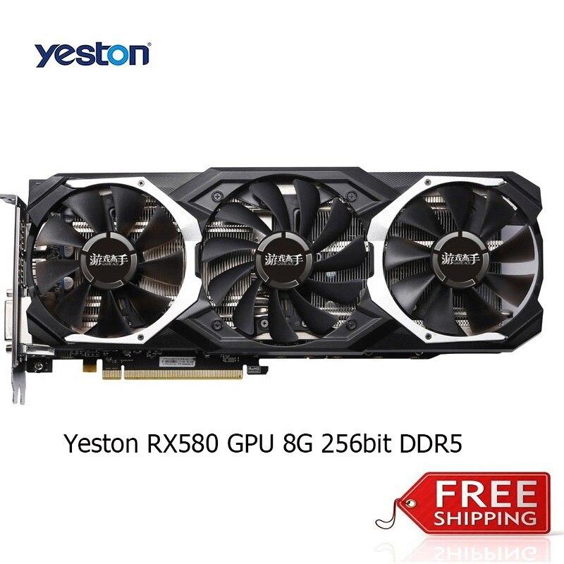 Новое поступление Yeston RX580 GPU 8 г 256bit DDR5 Графика карты три Вентиляторы 8000 мГц Поддержка DP/HDMI/DVI pci-e 3.0 отлично подходит для игр