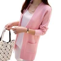 New Women Spring Autumn Sweater 2017 Long Cardigan Korean Slim Pocket Loose Knit Sweater Outwear Coat