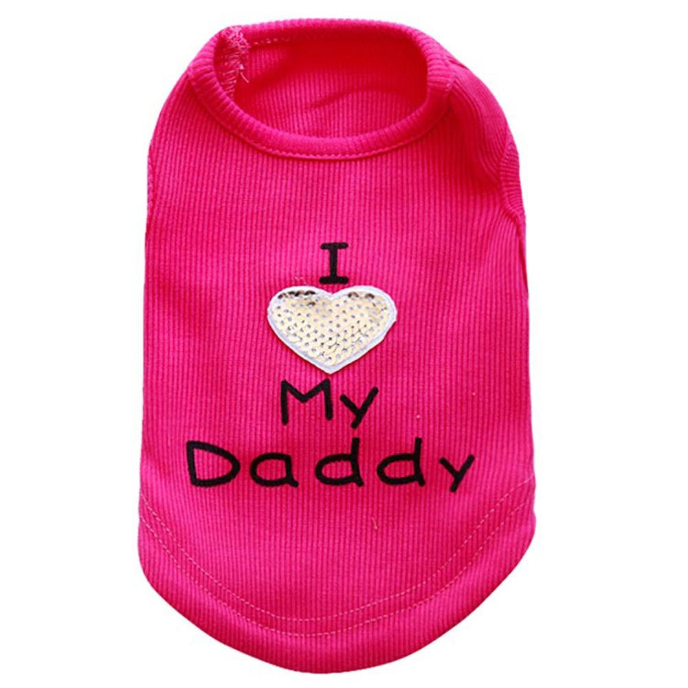 Pet Clothes I Love My Mommy/Daddy Letters Print Dog Vest Puppy Sleeveless Top