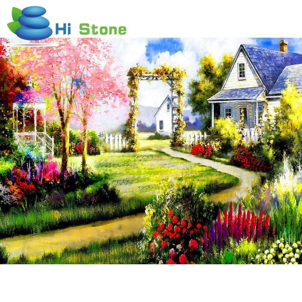 DIY 5D Полный Круглый бриллиант вышивка сад дом пейзаж алмазов картина вышивки крестом горный хрусталь мозаичные украшения дома подарок