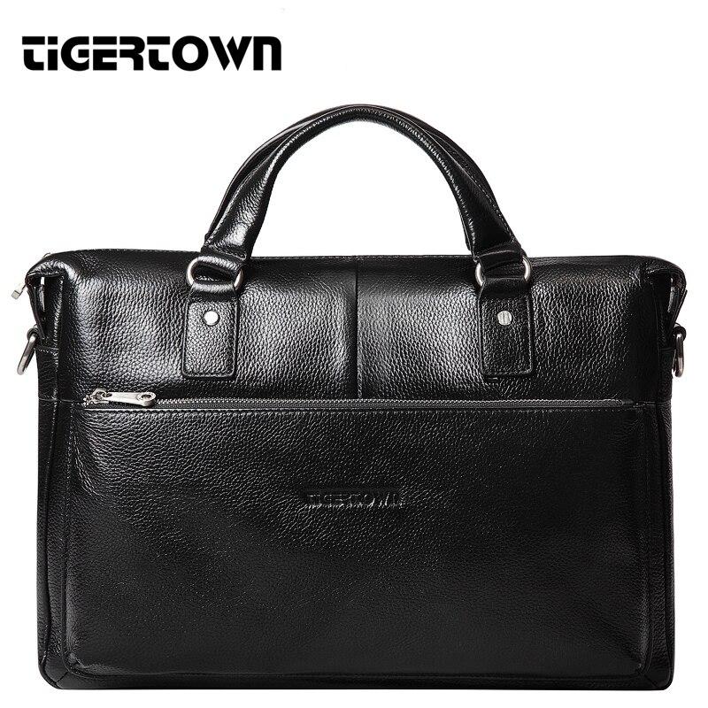 Free Shipping TIGERTOWN Men s 100 Genuine Leather Real Cowhide Handbag Messenger Shoulder Tote Briefcase Hand