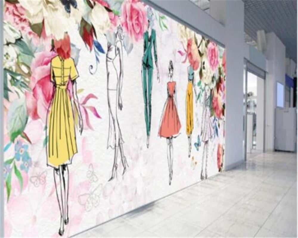 D Fashion Beauty Supply: Beibehang Custom Wallpaper Watercolor Flower Beauty Retro