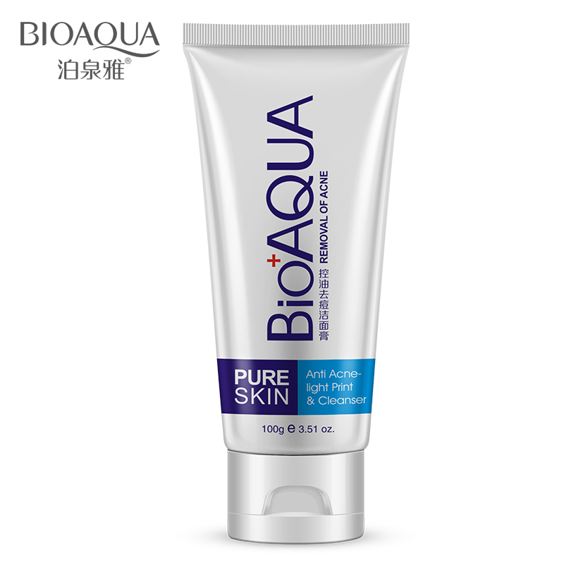 Bioaqua Facial Cleanser Acne Treatment Black Head Remove Oil Control Deep Cleansing Foam Shrink Pores 100g