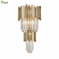 Luxury Plate Steel Lustre E14 Luminaria Led Wall Lamp K9 Crystal Led Wall Scones for Hotel Corridor Lighting Lamparas Fixtures