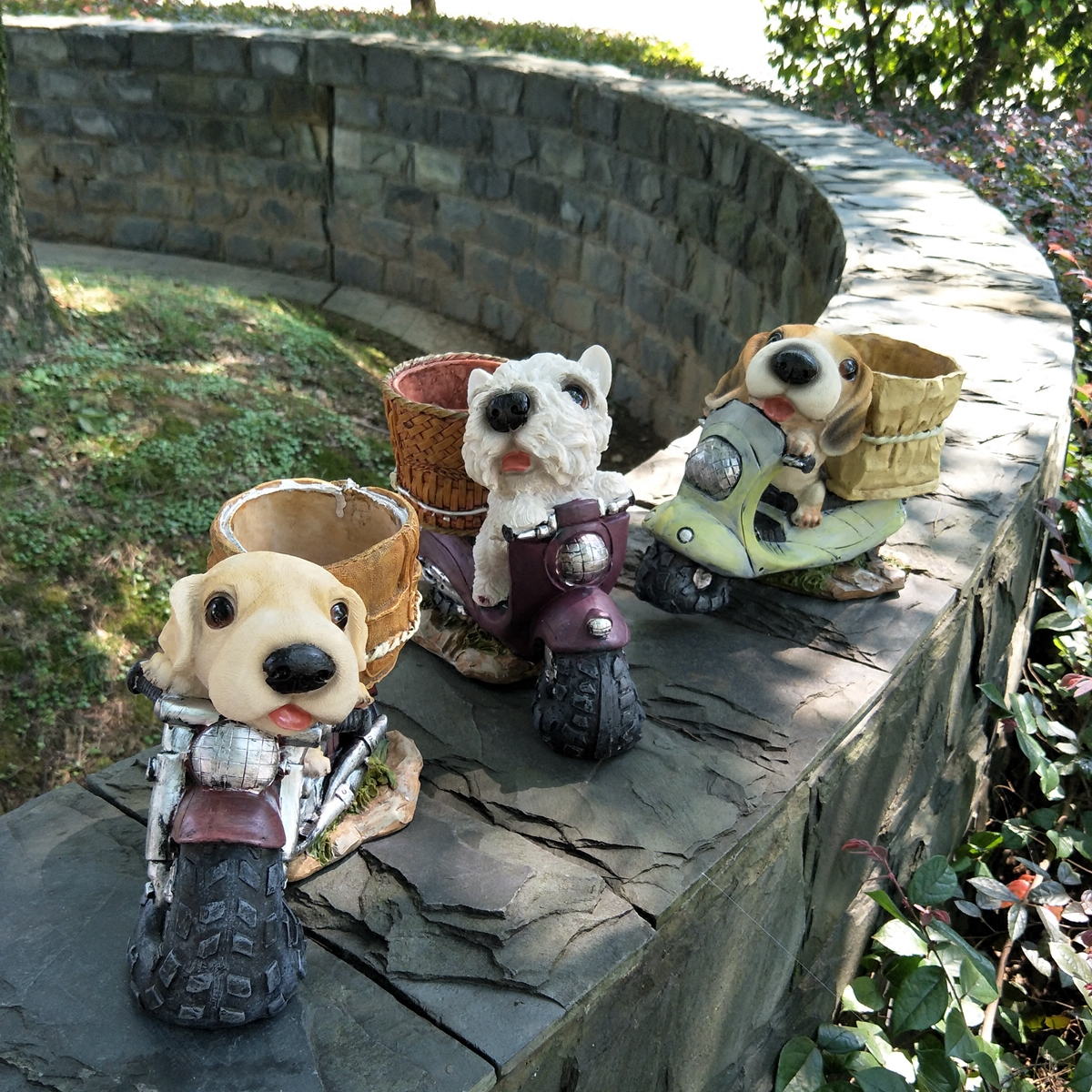 Résine Mini chien chiot bonsaï Figurines miniatures pot de fleurs Terrarium planteur jardin décoration Animal Micro paysage ornements
