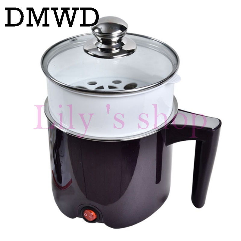 DMWD 110V Multifunction electric Skillet Stainless Steel Hot pot noodles rice Cooker Steamed egg Soup pot MINI heating pan mini electric pressure cooker intelligent timing pressure cooker reservation rice cooker travel stew pot 2l 110v 220v eu us plug