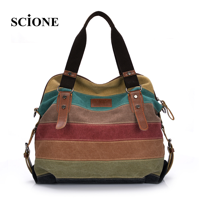 2017 hot women patchwork handbag female canvas shoulder messenger bags casual shopping tote bolsas femininas de