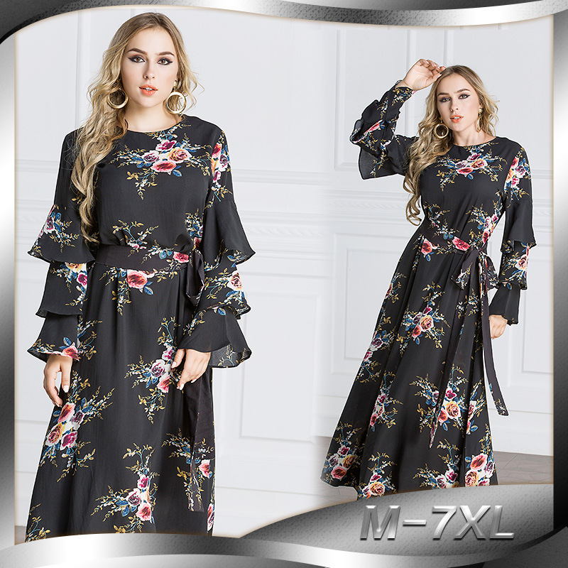 Ms. big yards Muslim Arab Middle East Dibaishate Malaysia gown long section of the printed speaker Sleeve Dress JQ20