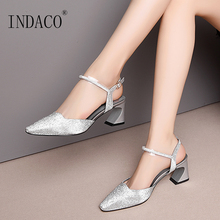 Shoes Women Sandals Genuine Leather High Heels Sandals Pointed Toe Buckle Ankle Strap Pumps Thick Heel Party Shoes цена и фото