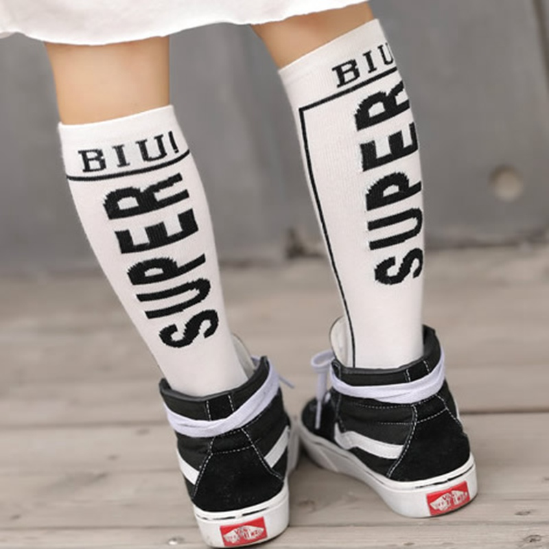 1 Pair Newborn Cute Child Baby Cotton Cartoon Solid Color Alphabet Personality Sport Sock Knee High Socks Boys Girls Kids Gift