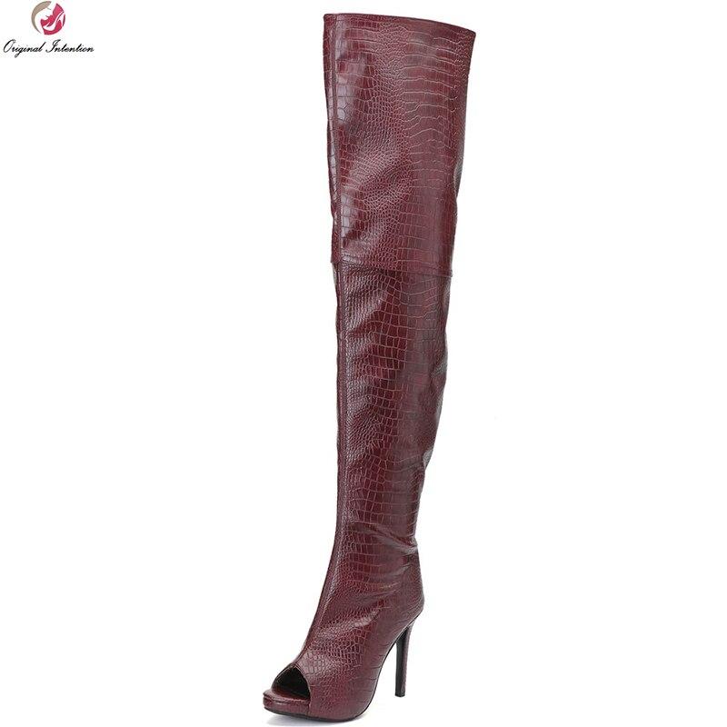 Оригинальные Модные женские ботфорты выше колена сапоги до бедра на тонком каблуке с открытым носком винно красная обувь женская обувь бол...