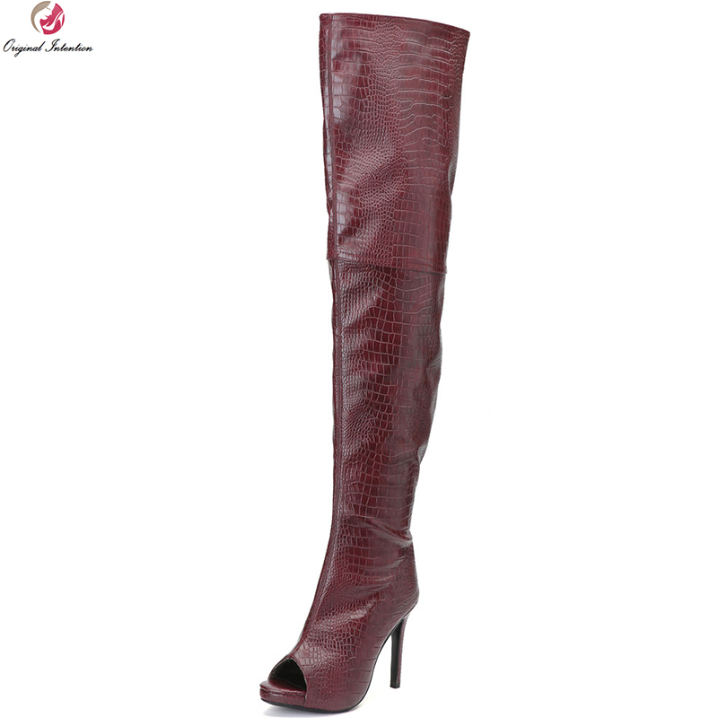 Original Intention Fashion Women Over-the-Knee Boots Thigh High Peep Toe Thin Heels Boots Wine Red Shoes Woman Plus US Size 4-15 цены