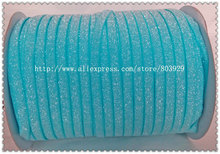50yards lot Non stretch 1 5 Frosted Turquoise Glitter Ribbon