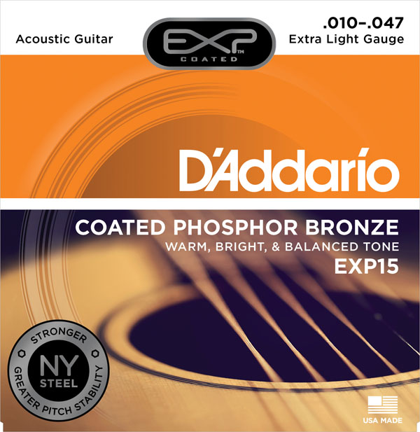 D'addario Daddario Coated Phosphor Acoustic Guitar Strings, EXP15 EXP16 EXP17 EXP26 d addario exp16 american made coated phosphor bronze acoustic guitar strings light 12 53