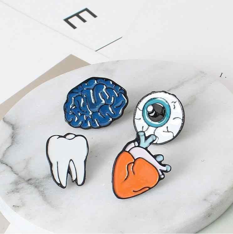 Lucu Kartun Kreatif Organ Bros untuk Pria Wanita Mini Brain Heart Gigi Mata Enamel Bros Pin Lencana Dekorasi 11