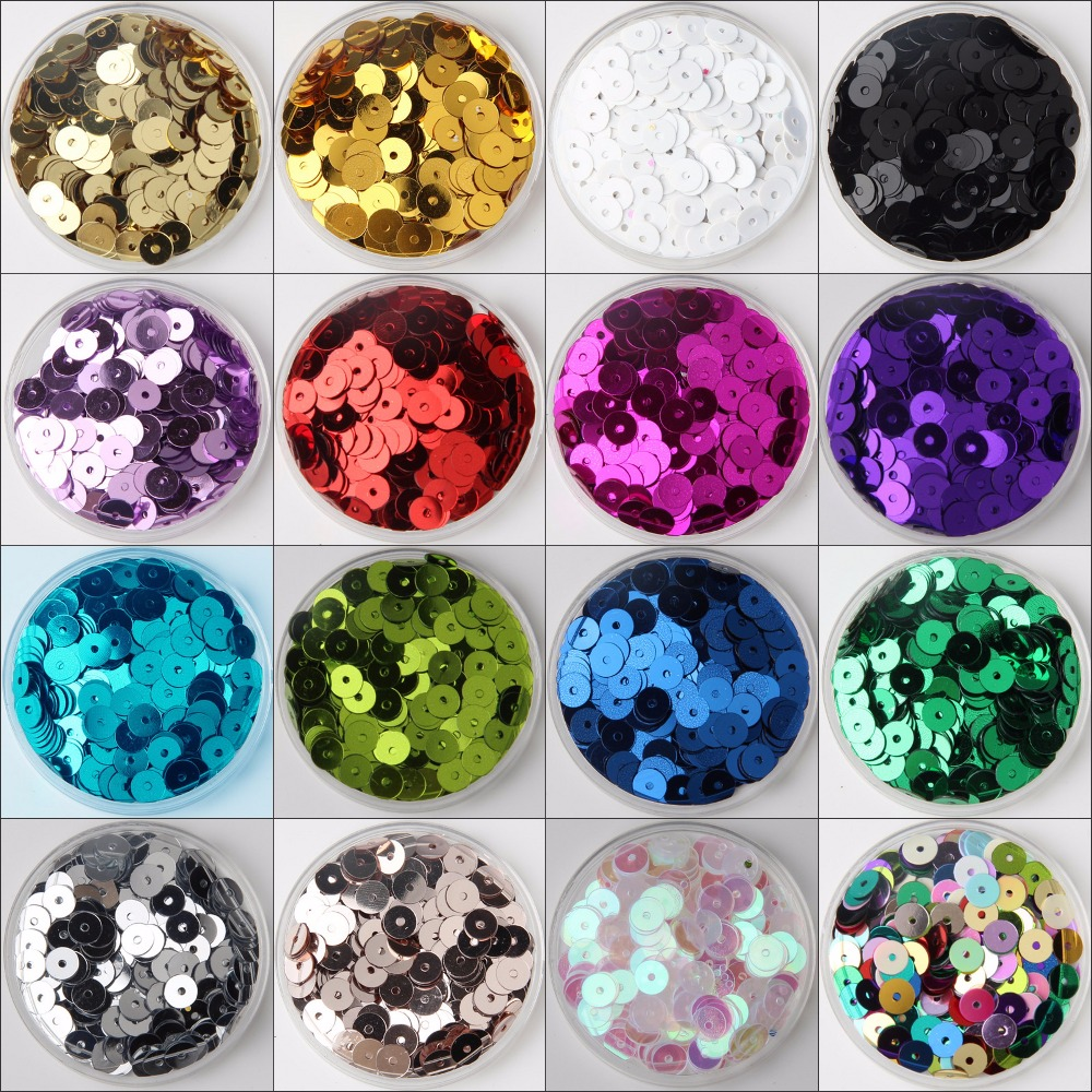 30g(2500pcs) Silver-Base 28 colors 6mm Flat round loose sequins Paillettes sewing Wedding craft, Women Garments Accessories