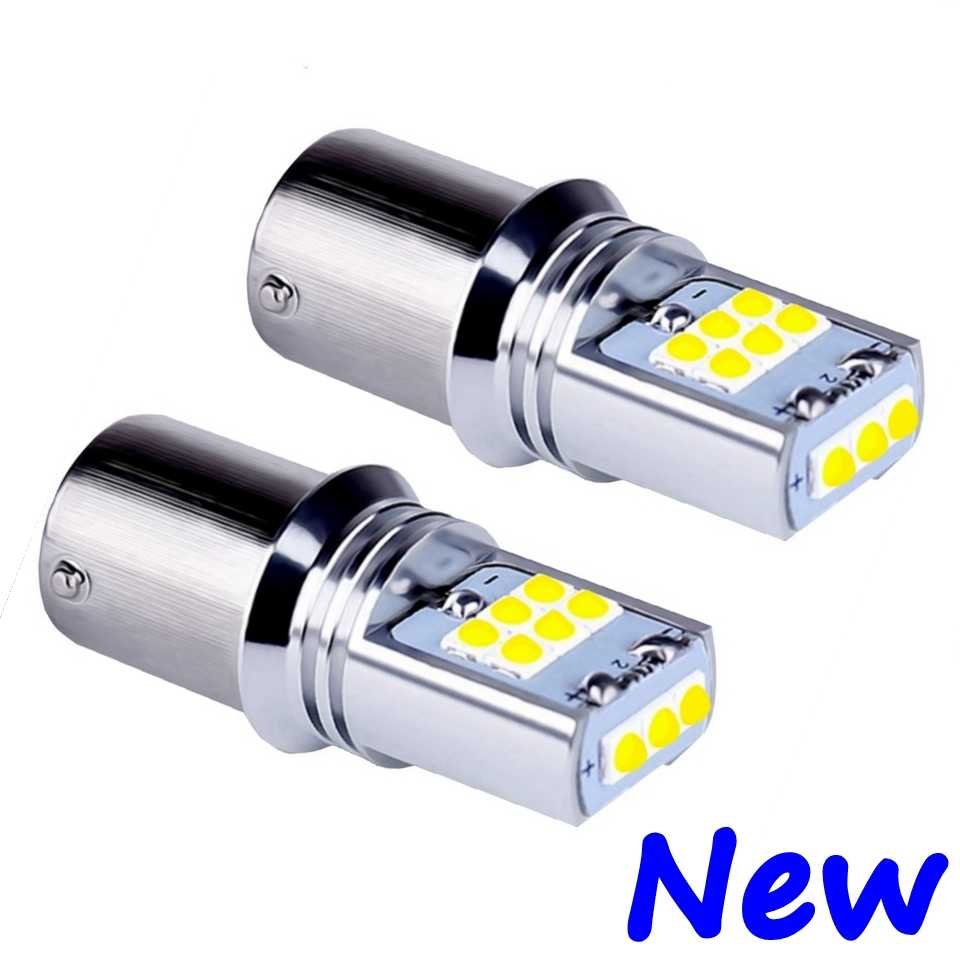 2PCS New 1156 P21W 7506 BA15S Super Bright 1800LM LED Auto Reverse Lights Brake Lamps Car DRL Daytime Running Bulbs Turn Signals