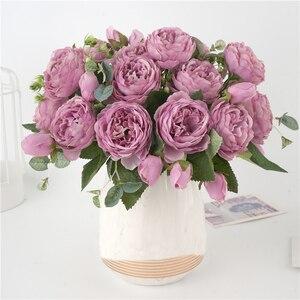 Image 4 - 5 cabezas grandes/ramo de peonías artificiales, ramo de peonías de seda, 4 flores de brotes, decoración del hogar de boda, flor de peonía Rosa falsa