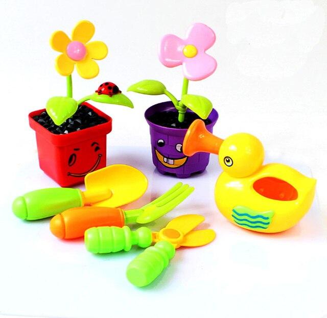 Plastic Kids Toys Mini Flower Pot Watering Gardening Tools Childs