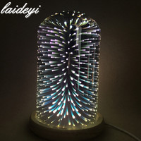 LAIDEYI 3D Glass Cover LED Night Light Bedroom Bedside Decoration Desk Lamps Mood Light Firework Romantic