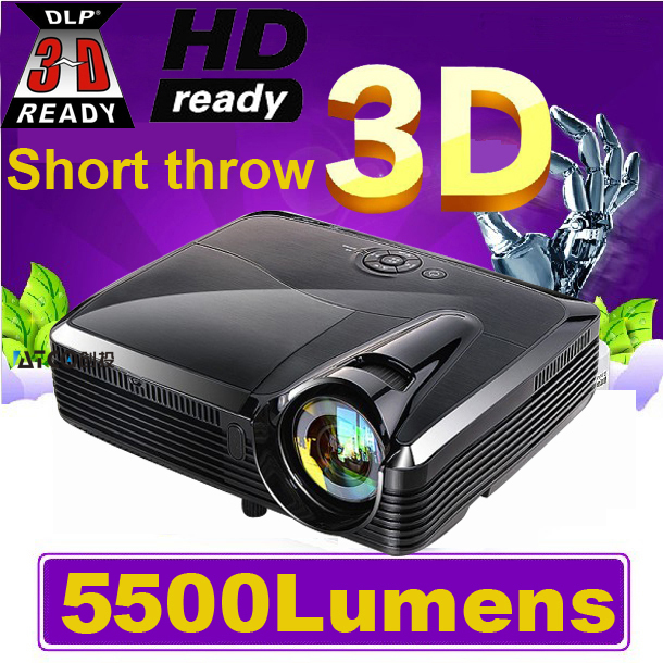 Top Quality ! Full HD 5500Lumens 3D Ultra Short throw HDMI Beamer 1080P XGA Video Digital Education DLP Projector proyector new short throw 300inch dlp hologram 3d projector hd pc usb vga daylight 1080p rear video beamer lamp for education school