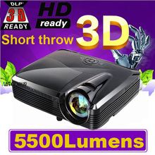 Top Quality ! Full HD 5500Lumens 3D Ultra Short throw HDMI Beamer 1080P XGA Video Digital Education DLP Projector proyector