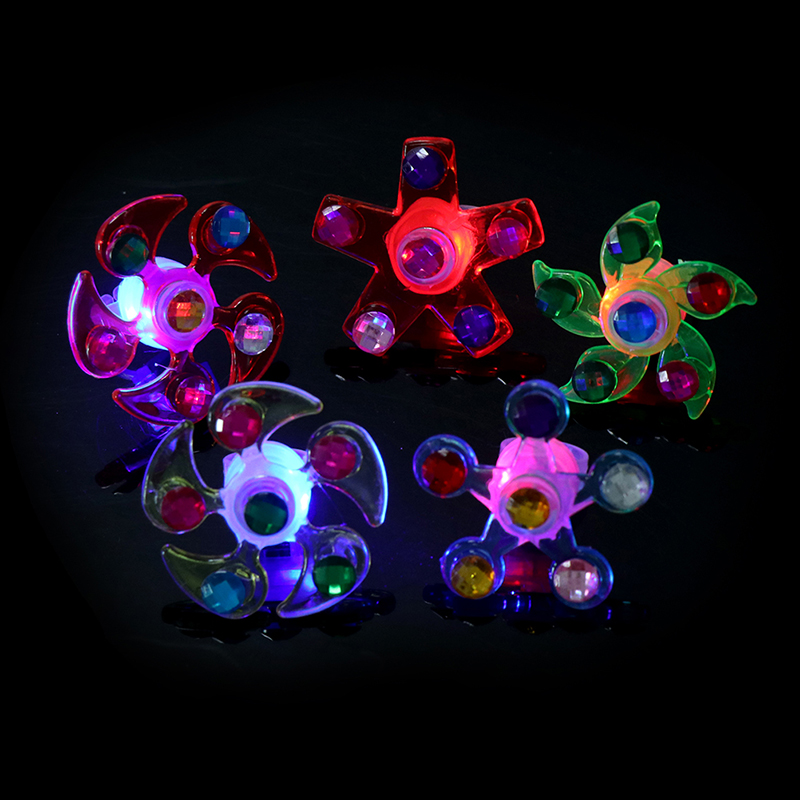 1Pc Jumping Fidget Spinner Lighter Flow Rings Funny Led Light Up Tiny Toy Fidget Spinner Stress Relief Gift Gyroscop Toy Spiner