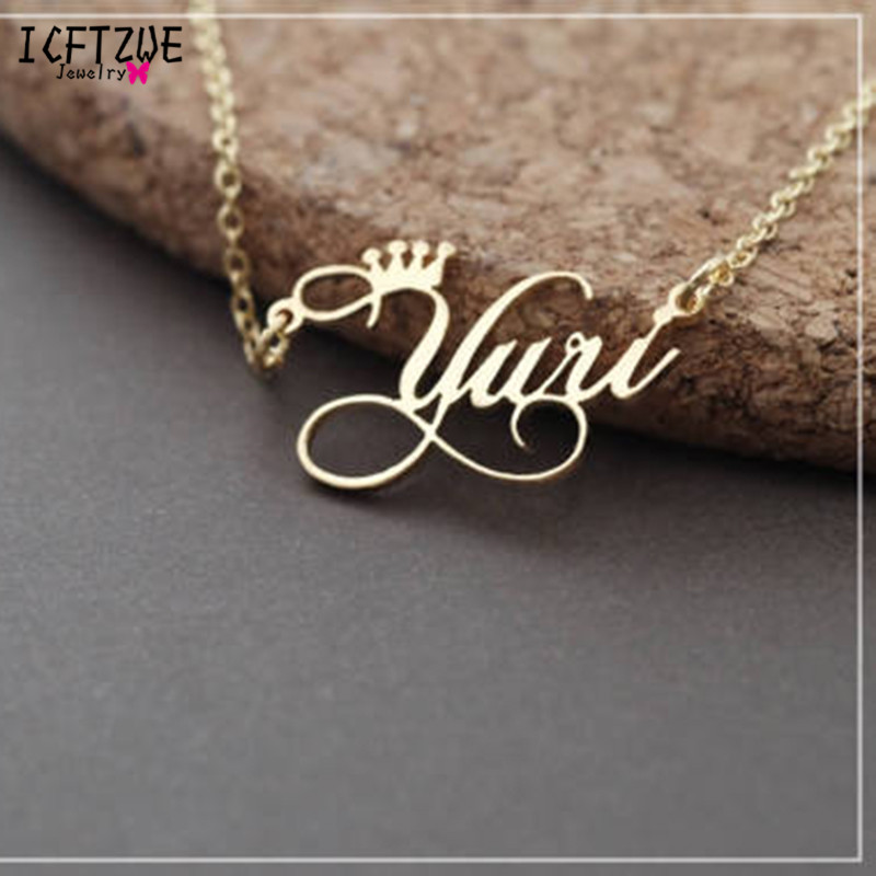 Princess Queen Crown Personalized Name Necklace Customized Cursive Font Pendant Stainless Steel Chain Jewelry Bridesmaid GiftPrincess Queen Crown Personalized Name Necklace Customized Cursive Font Pendant Stainless Steel Chain Jewelry Bridesmaid Gift