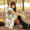 Women's rabbit fur medium-long slim vest  rabbit hair fur coat