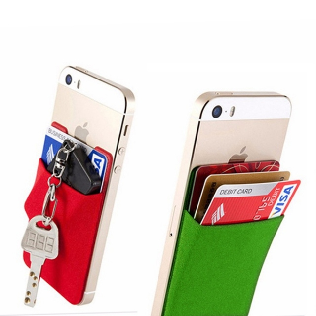 new styles 63aec 6f663 2018 Fashion Elastic Lycra Adhesive Cell Phone ID Credit Card Holder Women  Sticker Pocket Wallet Case Card Holder