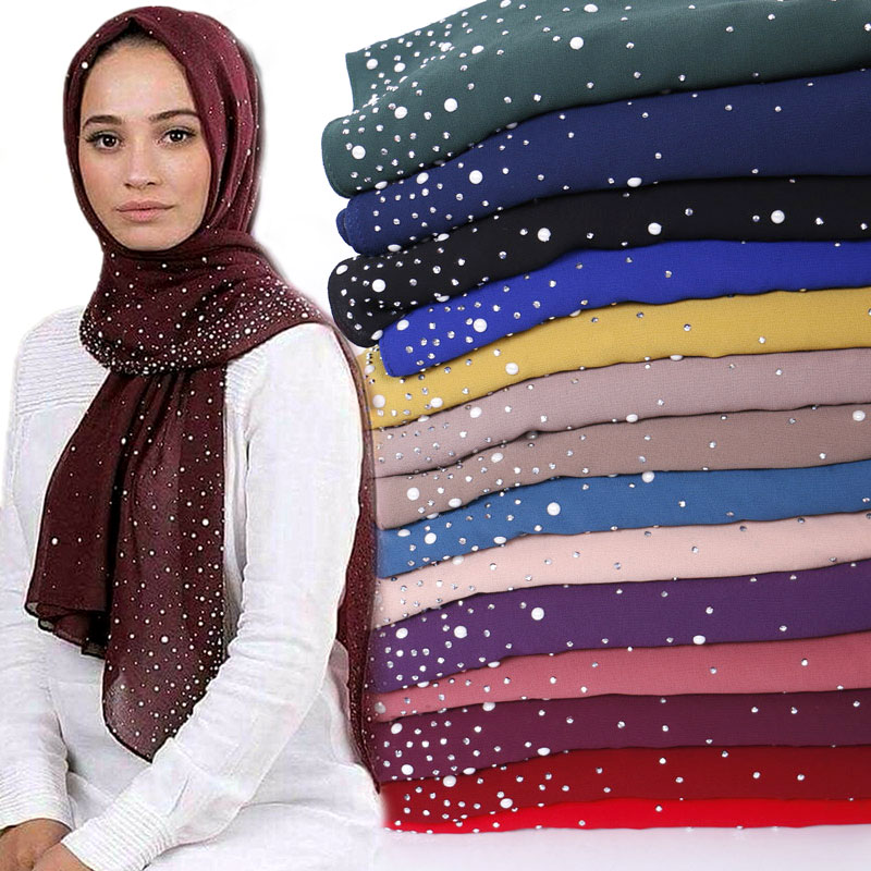 Bubble chiffon beads hijab scarf diamond shawls muslim solid color scarves wraps headband scarves 10pcs lot