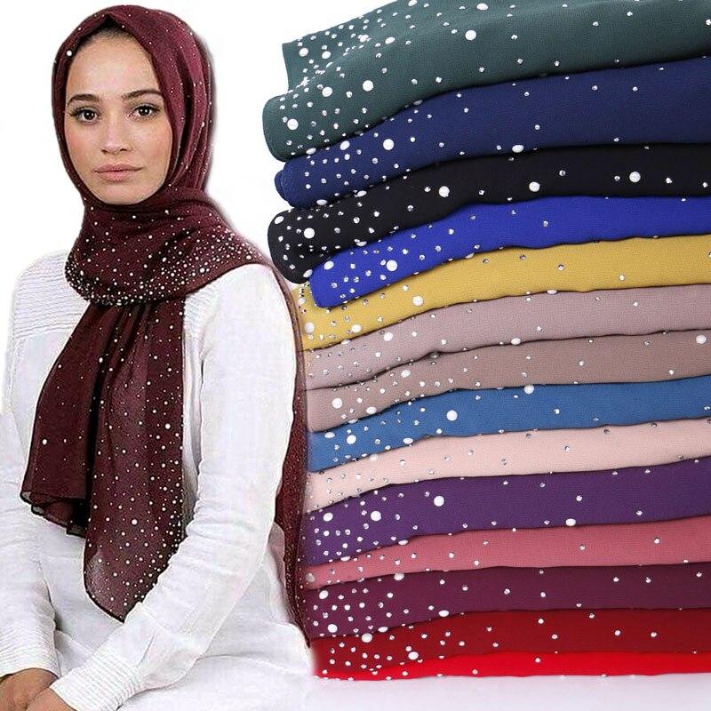 Bubble chiffon beads hijab scarf diamond shawls muslim solid color scarves wraps headband scarves 10pcs lot