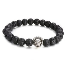 Lion Charms Diffuser Bracelets Black Lava Beads Natural Stone Bracelet For Women Men Jewelry Christmas red watermelon tourmaline stone beads bracelet for women men natural stone bracelet crystal quartz bracelets elastic