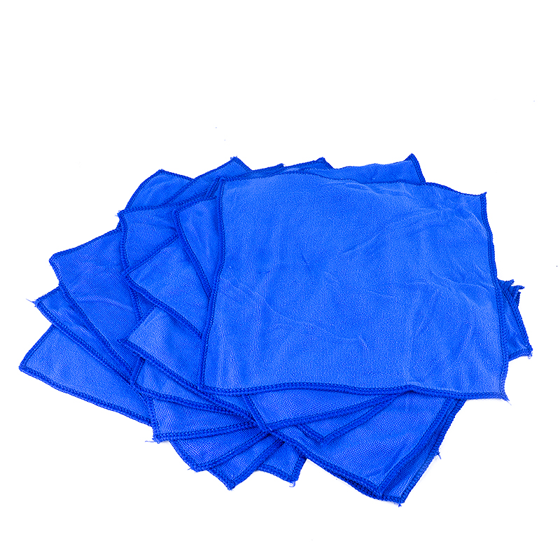 10pcs/lot Microfiber Wash Clean Towels Car Cleaning Duster Soft Cloths Cleaning Tool For Home Furniture Office Car 30x30cm Blue