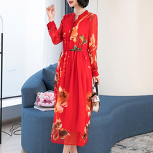 Dresses woman party night plus size long sleeve 2019 spring mulberry silk real natual dress maxi button stand collar print