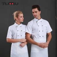 Chaqueta Chef Shirts Einfarbig Uniform Kurzarm Jacke Lebensmittel Service Hotel Küche Arbeit Kleidung Carnaval Volwassen Kostuums