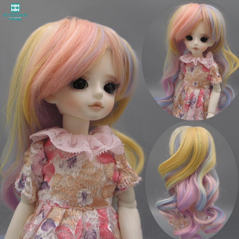 все цены на Doll hair for 1/3 1/4 1/6 BJD doll wigs Curly hair Kid's gift doll festival party modeling онлайн