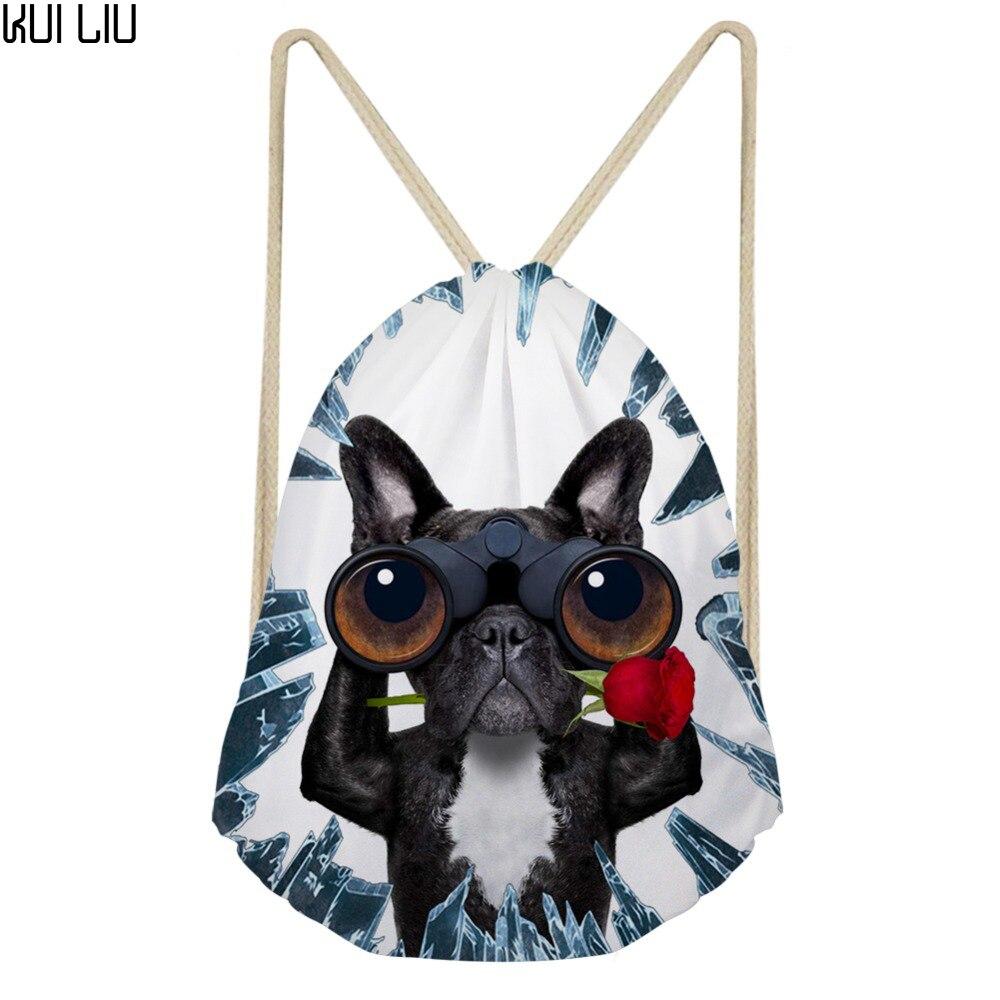 Customized Image Cute Animals Print Drawstring Bag Teenagers Fashion String Pouch Kids Logo Custom Package Cool Travel Mochilas