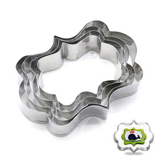 TTLIFE 4PCS Frame Cookie Cutters 3D Blessing Wedding Stainless Steel Biscuit Mold Sugarcraft Pastry Mould Kitchen Baking Tools