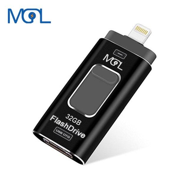 premium selection 6373c b01f9 US $8.64 37% OFF|MGL Usb Flash Drive 128GB 64GB OTG Pen drive 32GB external  storage memory stick 16GB 8GB For iphone 7 7 Plus 6 6s Plus 5S ipad -in ...