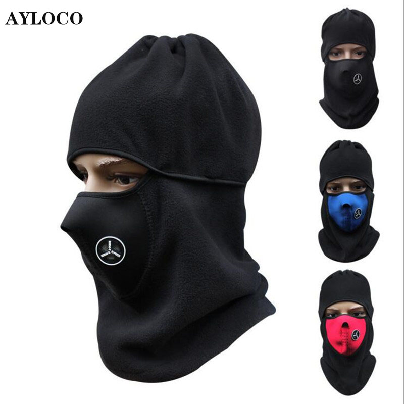 Winter Fleece Warm Hat Motorcycle Windproof Face Mask Hat Neck Helmet Beanies Unisex Bicycle Thermal Fleece Balaclava Hat cuhakci 2017 winter heating neck fleece hat headwear winter skiing ear windproof face mask motorcycle bicycle scarf