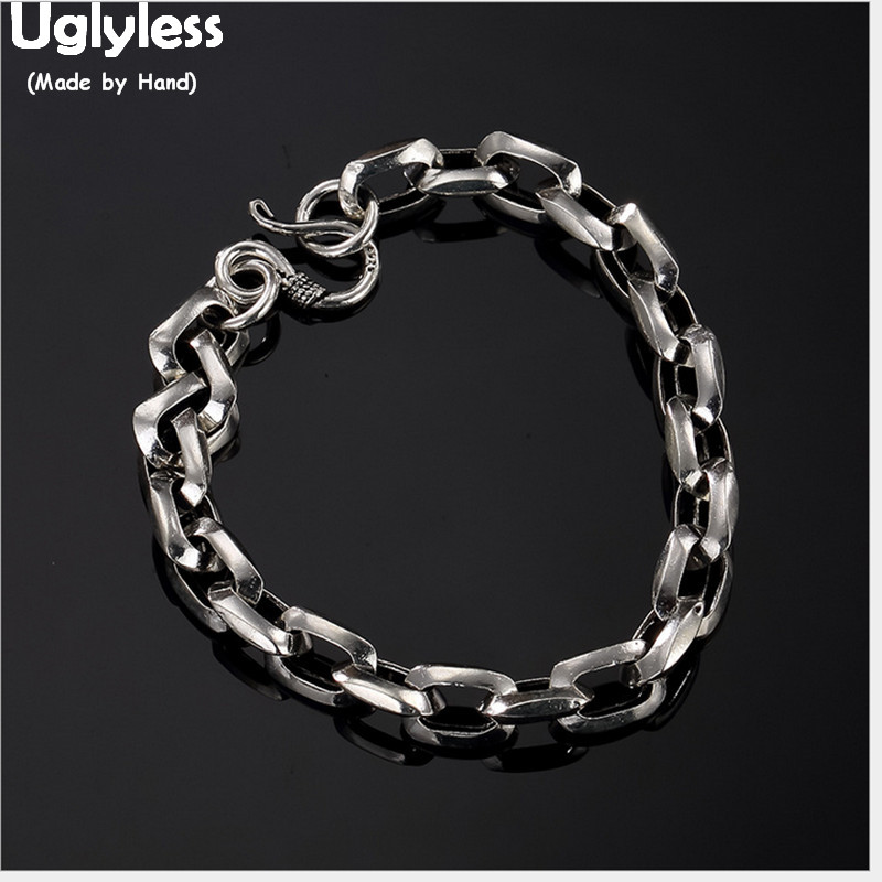 Uglyless 100% Real 925 Sterling Silver Men Chains Bracelets Simple Fashion Square Chains Fine Jewelry Thick Bangles Male Bijoux