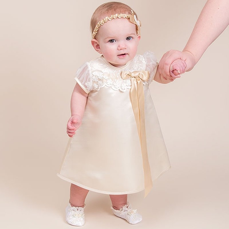 With Headband Baby Girl Christening Gowns Short Sleeves O-Neck A-Line Appliques Patchwork Stain Baby Girl Infant Summer Dresses angel bride sheath v neck half sleeves appliques gowns mother of the bride dresses