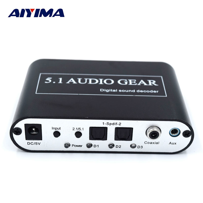 AIYIMA DTS/AC3 Audio Decoder Music Player Dolby Digital Fiber To Analog USB 5.1 Channel 1080P HD Digital TV Satellite Decoder zy dts8hd 7 1 channel decode board dts ac3 3d hdmi 1 4 dts decoders