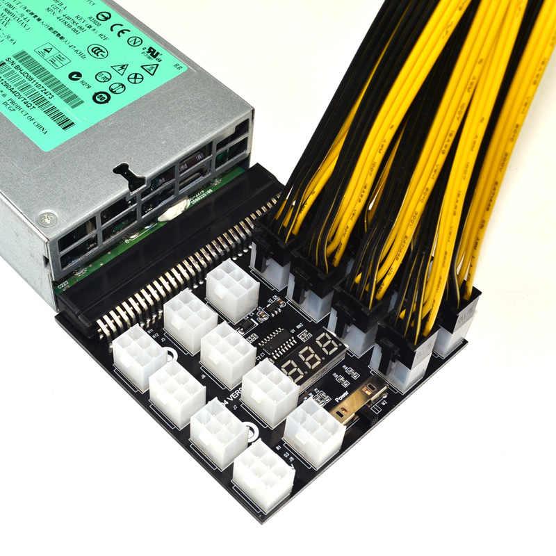 PCI-E 17x 6Pin Power Supply Breakout Papan Adaptor Converter 12 V untuk Ethereum BTC Antminer Penambang Pertambangan HP Server PSU GPU