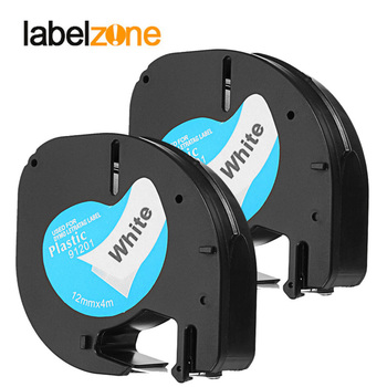 2Pack 91201 Compatible Dymo letratag 12mm printer 12267 91200 91202 91203 91204 91205 91331 Plastic Tape for Letratag LT-100H