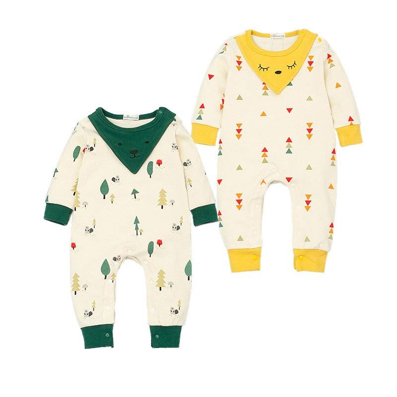 Newborn Baby Romper Cute Baby Boys Girls Clothes New born Roupas De Bebes Infant Jumpsuits Bibs Decor Smile Print Coverall
