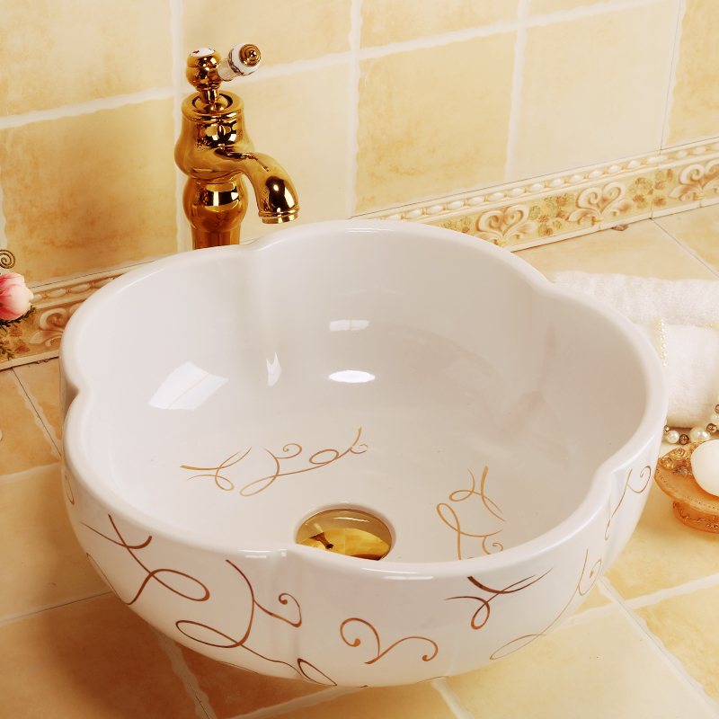 Unique flower shape countertop bathroom ceramic cabinet sinks abstract art ceramic wash basin countertop bathroom sinks
