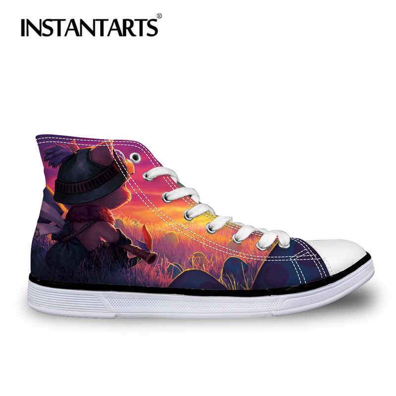 INSTANTARTS Men Canvas Shoes Fashion Lace Up Vulcanize High Top Shoes League of Legend Flats Shoes 3D Anime Print Boys Sneakers eyelet lace botanical print top
